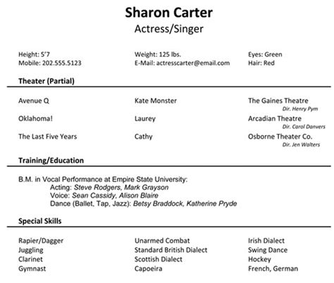 resume for musical auditions artsedge the ins and outs of trying out