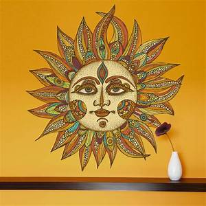 celestial sun art wall sticker decal helios by valentina With kitchen cabinets lowes with celestial sun wall art