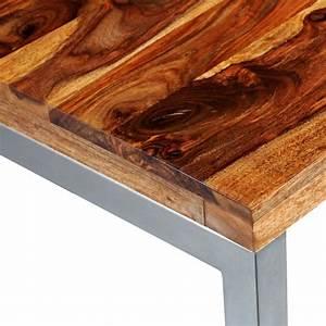 Esstisch Massivholz Günstig : esstisch schreibtisch sheesham massivholz mit stahlbeinen ~ Watch28wear.com Haus und Dekorationen