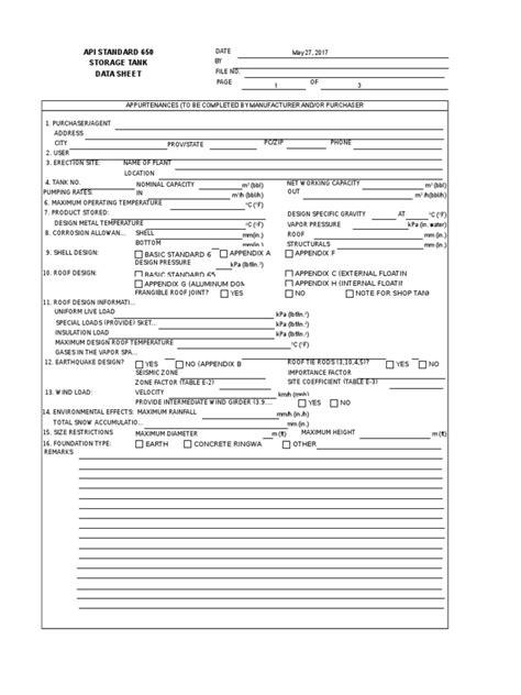 API Standard Storage Tank Data Sheet Rev 0 | Structural