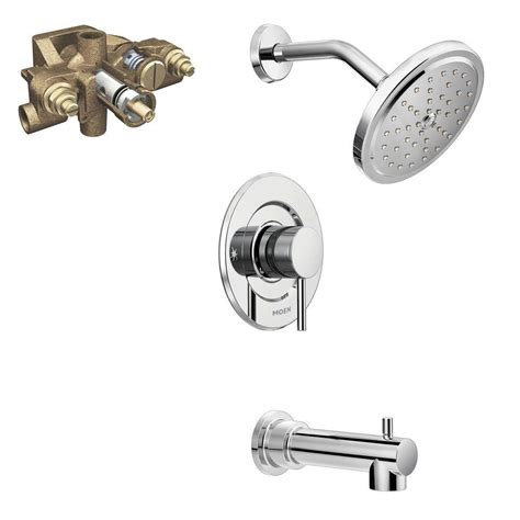 moen align single handle 1 spray moentrol tub and shower faucet trim kit with valve in chrome