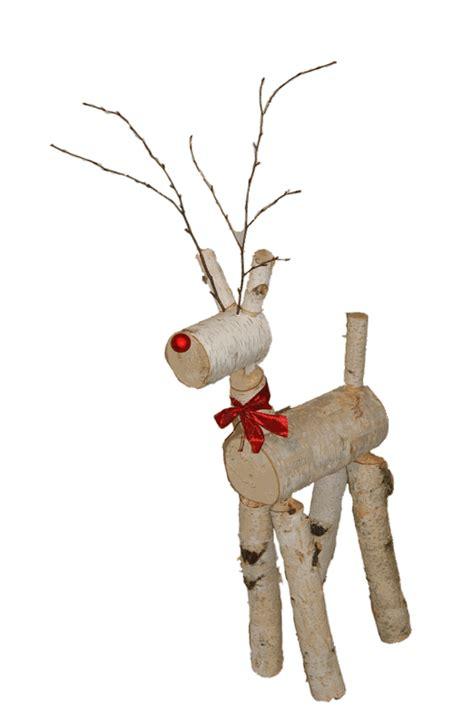 reindeer   birch logs rustic woodworking birch