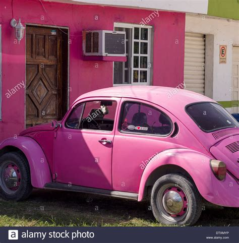 pink volkswagen beetle pink vw and matching house a bright pink volkswagen