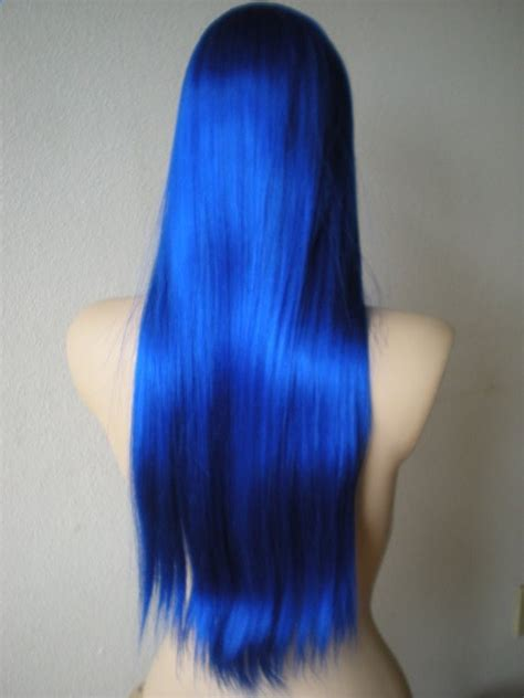 Long Wig No Bangs Long Blue Wig Straight Blue Hair By