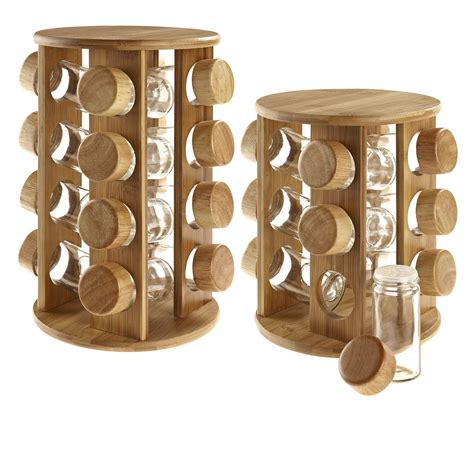 Spice Rack Without Jars by Wooden Rotating Revolving Bamboo Spice Rack Glass Jars