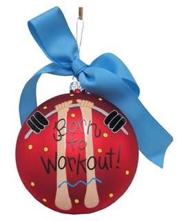 born to workout personalized ornament