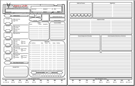 new section and d d 5e character sheet pdf