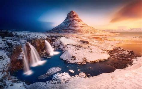 Wallpaper Iceland Mountain Kirkjufell Waterfalls