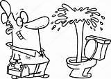 Geyser Cartoon Plumber Toilet Admiring Drawing Vector Illustration Depositphotos Plus Getdrawings Ronleishman sketch template