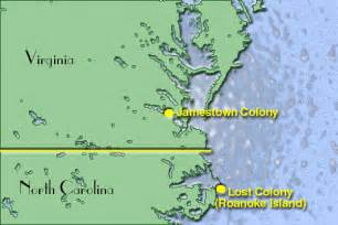Jamestown and Roanoke Colony Map