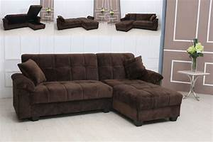 Modern tufted brown microfiber sectional sofa storage for Microfiber sectional sofa with storage chaise