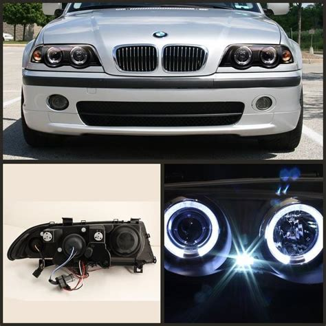 spyder black projector led halo headlights for 1999 2001