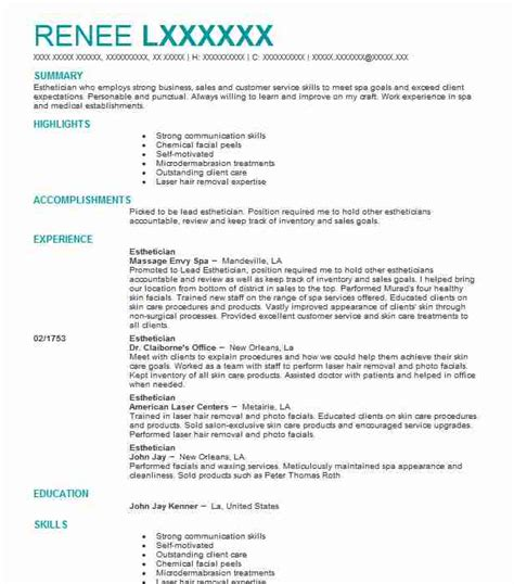 Resume For Esthetician by Esthetician Resume Objectives Resume Sle Livecareer