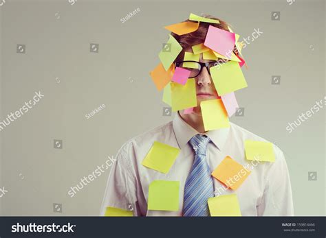 post it bureau office worker with post its all his stock photo