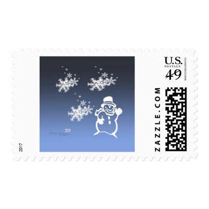 blue snowman stamp holiday card diy personalize design