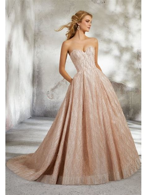 mori lee  lucrezia allover sparkle wedding dress rose gold