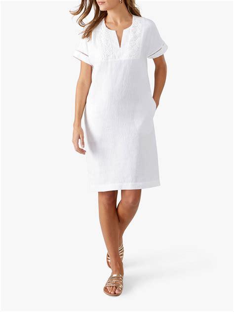pure collection linen lace trim dress white  john lewis