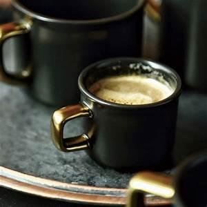 Lekoch, 500ml, Black, Ceramic, Coffee, Mug, With, Gold, Handgrip, Travel, Mug, Tea, Milk, Heat, Cup, For, Home