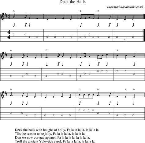 common session tunes scores and tabs for guitar deck the halls