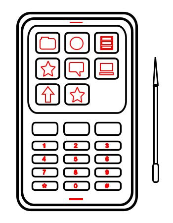 black phone number drawing a cell phone