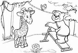 giraffe and bear want to do abs workout coloring page With see a robot workout
