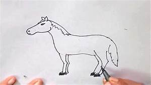 How to draw a Horse-in easy steps for children, kids ...