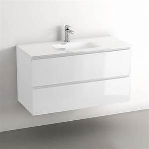 Meuble 100 Cm : meuble suspendu 80 ou 100 cm vasque en verre blanc brillant glass3 ~ Teatrodelosmanantiales.com Idées de Décoration