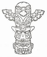 Totem Pole Coloring Pages Poles Native Printable American Drawing Animal Craft Tiki Tattoo Bestcoloringpagesforkids sketch template