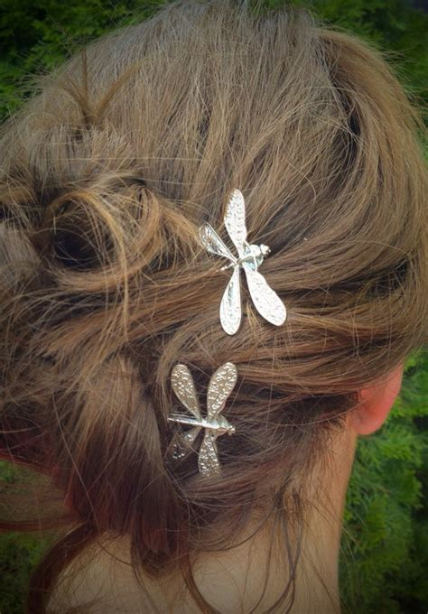 dragonfly bobby pins set   antique silver nickel