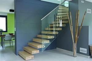 Escalier Bois Pas Cher : escalier suspendu ego marches seules dans le mur sans limon ~ Premium-room.com Idées de Décoration