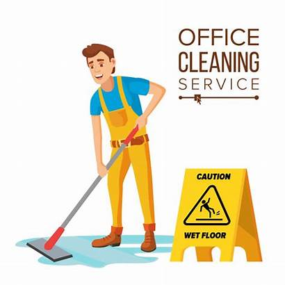 Cleaning Cartoon Office Vector Janitor Cleaner Professional
