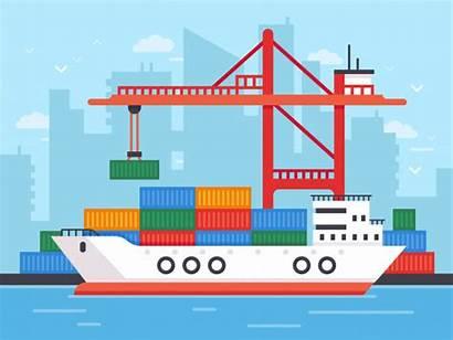 Cargo Ship Vector Port Docks Shipping Harbor