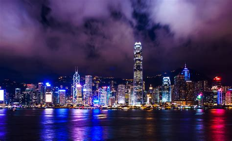 City Iphone 6 Wallpaper Fondo De Pantalla Semanal Bahía De Hong Kong Por La Noche En Iphoneros