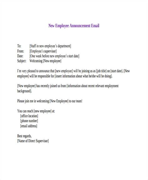 email template to announce your new hire 11 announcement email exles sles pdf doc