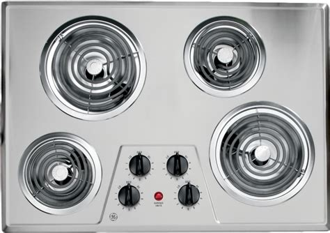 ge stainless steel cooktop electric coil inch elements controls front disclaimer ajmadison drip ss