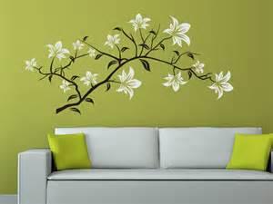 wohnideen fr schlafzimmer mit wandtattoo wandtattoo dekorativer blütenzweig mit blättern wandtattoo de