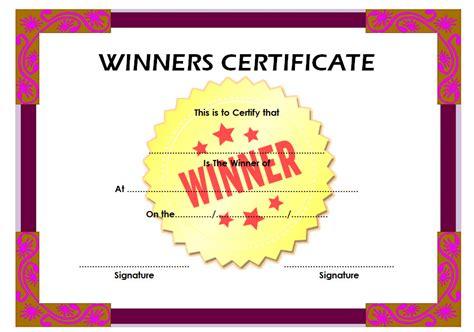 Winner Certificate Template Winner Certificate Template 4 Best 10 Templates