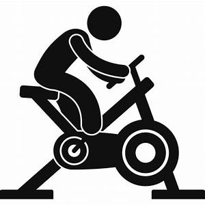 Spin Bike Spinning Silhouette Athletics Wall Stickers Gym