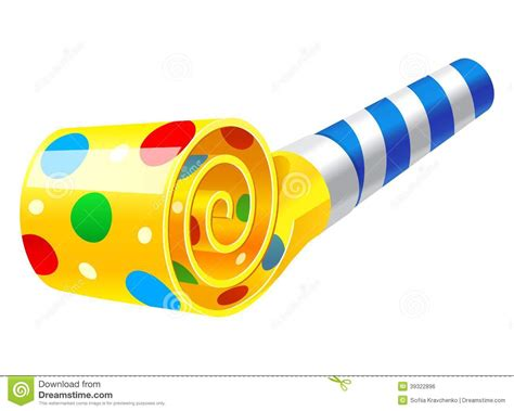 Party Horn Blower stock vector. Illustration of blue