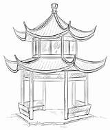 Pagoda Chinese Coloring Drawing Drawings Buildings Architecture Pages Draw Cool Landscape Supercoloring Children Step Painting sketch template