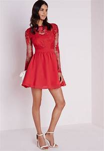 robe patineuse a manches longues en dentelle rouge With robe rouge manche longue