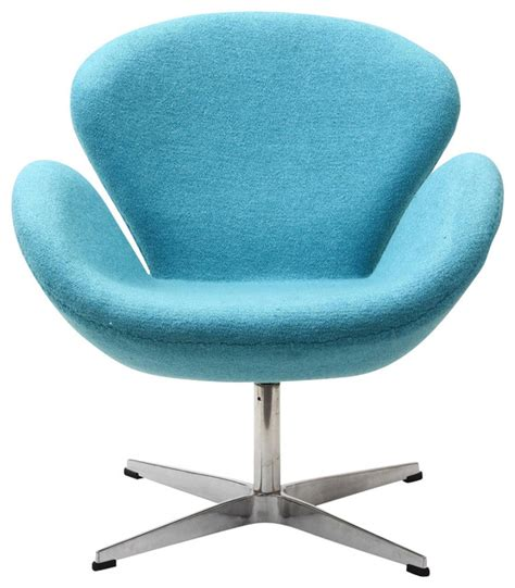 wing chair in woolen mix baby blue contemporary