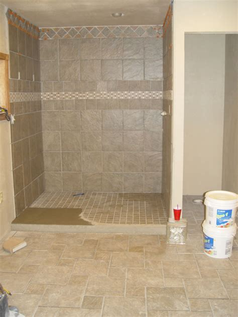 tile shower floor tile used mastic glue on entrance to shower tiling