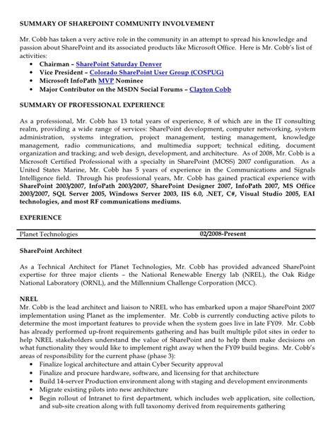 Sharepoint Resume Templates by Sharepoint Resume Resume Format Pdf