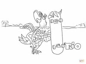 Blu Is Holding His Skateboard Coloring Page