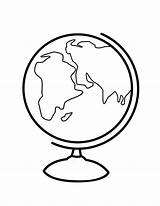 Globe Coloring Clipart Pages Printable Line Drawing Cliparts Sphere Earth Clip Library sketch template