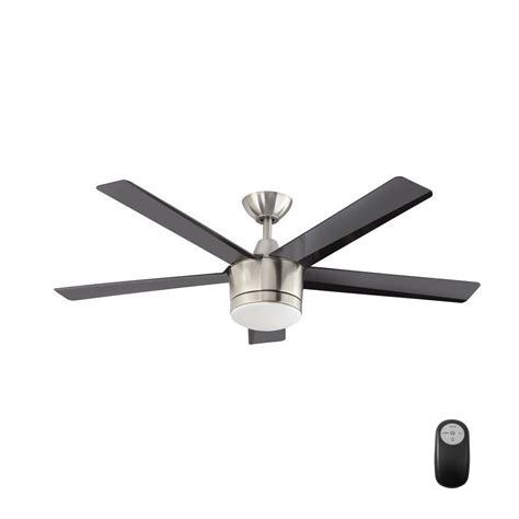 remote ceiling fan with led light merwry 52 in led indoor brushed nickel ceiling fan with