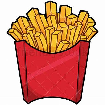 Fries French Cartoon Clipart Bag Fast Serving