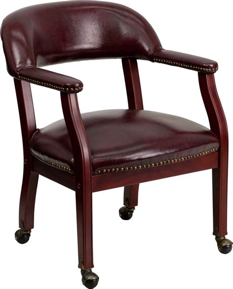 maroon vinyl leather table chair with wheels