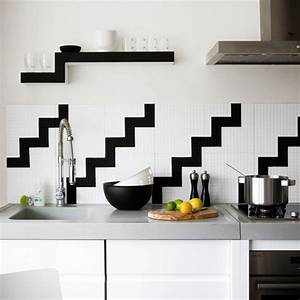 Black and white kitchen tile 2017 grasscloth wallpaper for Black and white wall tiles kitchen